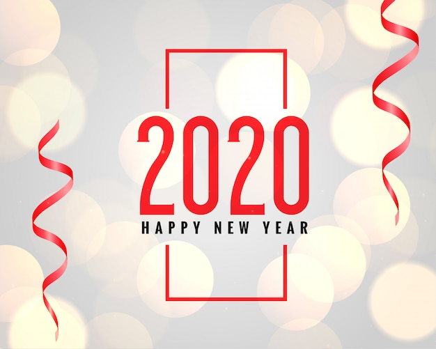 2020 new year celebration background with bokeh effect Free Vector