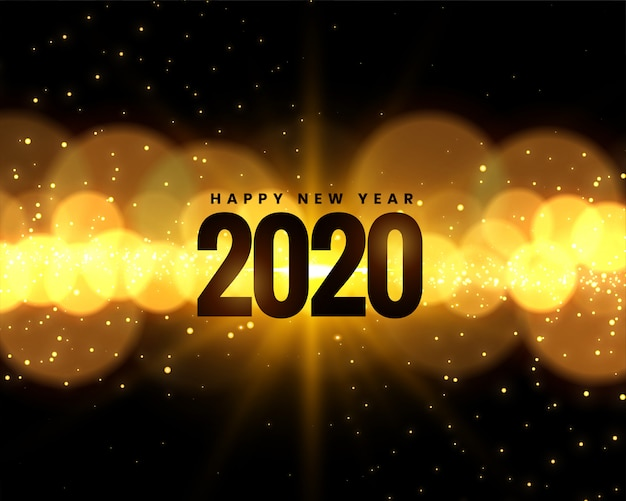 2020 new year celebration  with golden bokeh lights Free Vector