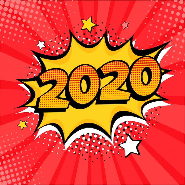 2020 new year comic book style postcard or greeting card element Premium Vector