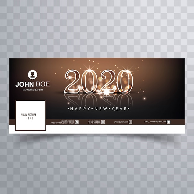 2020 new year  cover  vector Free Vector