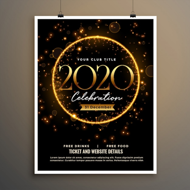 2020 new year golden sparkle flyer poster template design Free Vector