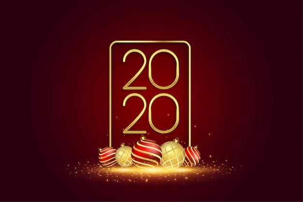2020 new year greeting card with 3d christmas balls Free Vector
