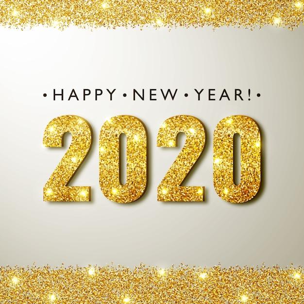 2020 new year greeting card Premium Vector
