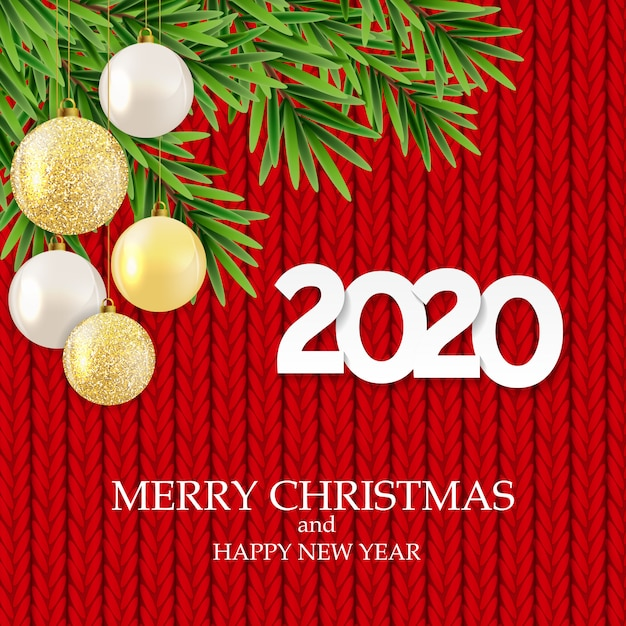2020 new year and merry christmas greeting card Vector ...