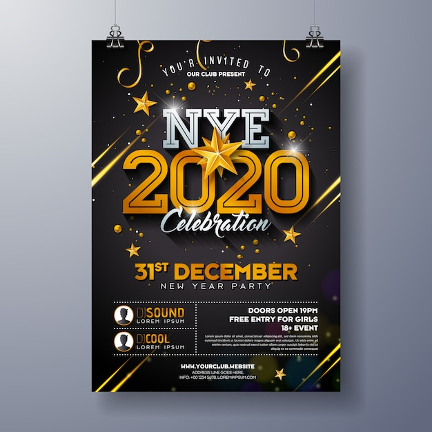 Иллюстрация шаблона плаката торжества партии нового года 2020 с сияющим золотым номером на черной предпосылке. Бесплатные векторы