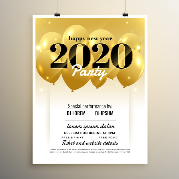 2020 new year party cover template design with balloons Free Vector