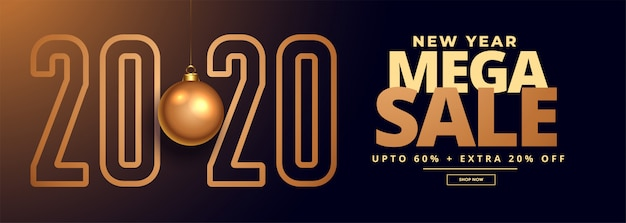 2020 new year sale and offer banner Free Vector