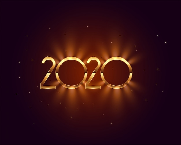 2020 new year shiny golden light card design Free Vector