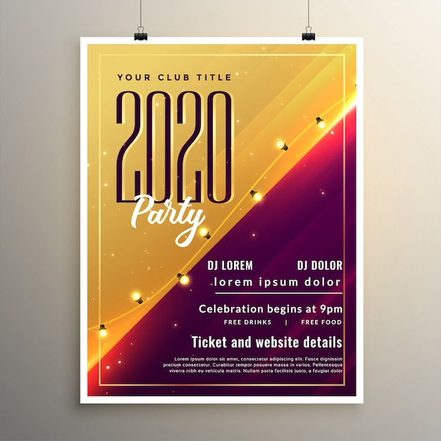 2020 new year stylish party flyer template design Free Vector