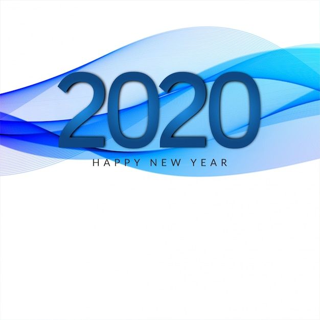 2020 new year wave style banner Free Vector