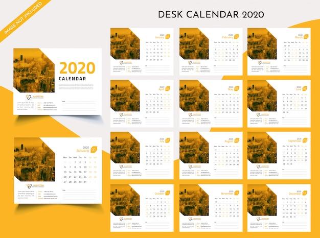 Настольный календарь 2020 шаблон premium vector Premium векторы