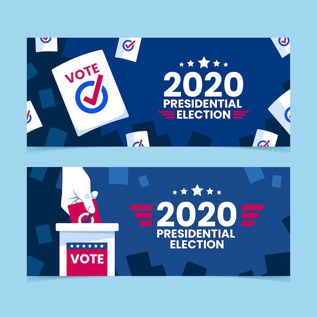 2020 presidential election banners Free Vector