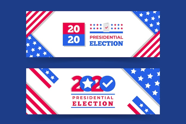 Набор баннеров президентские выборы 2020 года в сша Бесплатные векторы