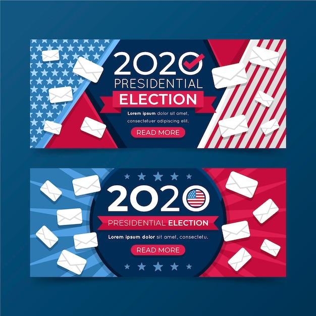 Набор баннеров президентских выборов 2020 года в сша Бесплатные векторы