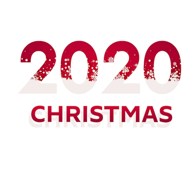 2020 red christmas типография дизайн. зимний сезон фон с падающим снегом. рождественский и новогодний постер. Premium векторы