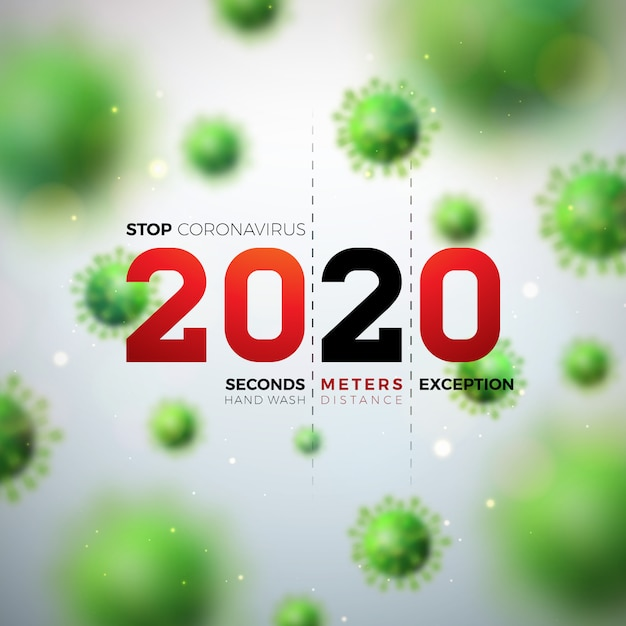 2020 stop coronavirus design with falling covid-19 virus cell on light background. vector 2019-ncov corona virus outbreak illustration. stay home, stay safe, wash hand and distancing. Free Vector