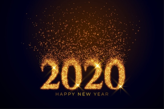 2020 text written in golden sparkles Free Vector