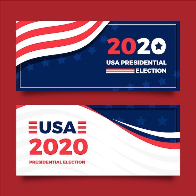 Дизайн баннера президентских выборов в сша 2020 Бесплатные векторы