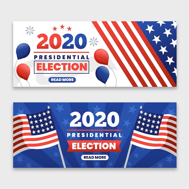 Free Vector 2020 Us Presidential Election Banners Template