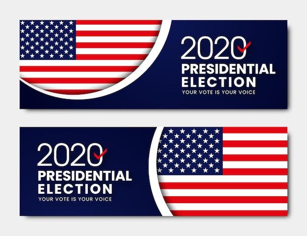 Президентские выборы в сша 2020 - баннеры Бесплатные векторы