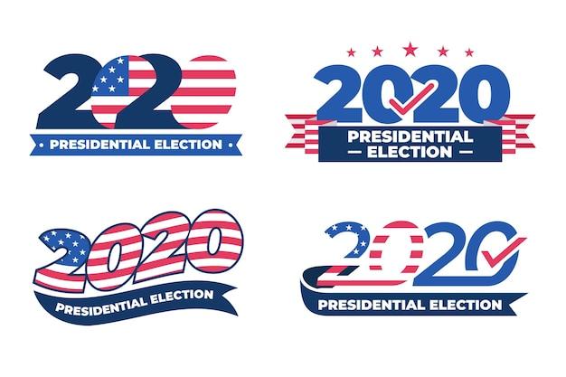 Коллекция логотипов президентских выборов в сша 2020 Бесплатные векторы