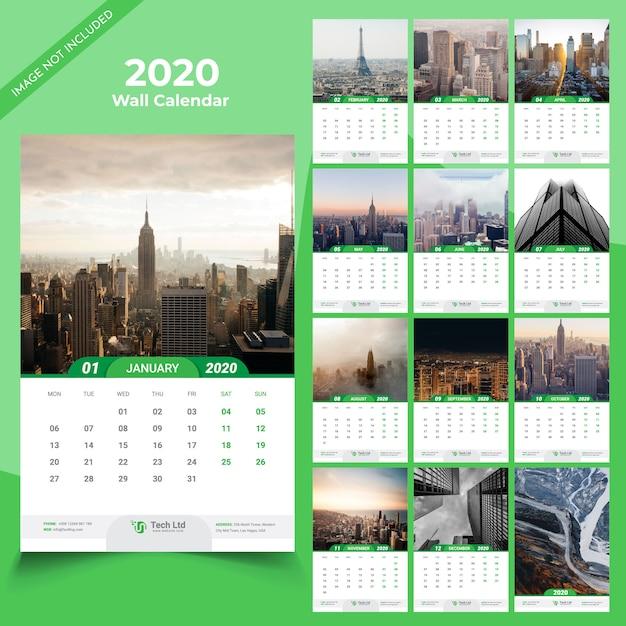 Templat kalender dinding 2020 Vektor Premium