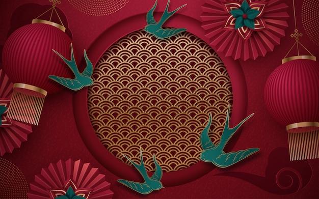 中国の旧正月2020年伝統的な赤と金のwebバナー Premiumベクター