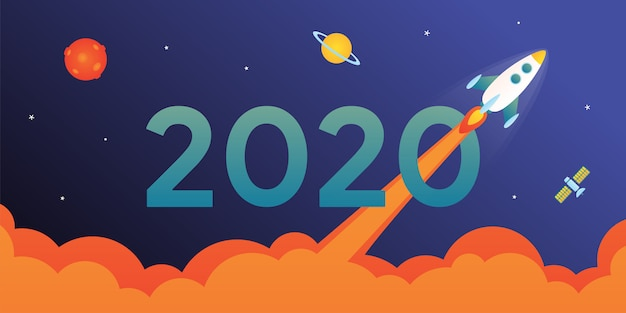 2020 with rocket card Premium Vector