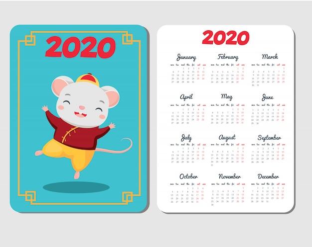 Шаблон календаря 2020 с мультипликационной мышью. китайский новый год с забавным танцевальным персонажем из крыс Premium векторы