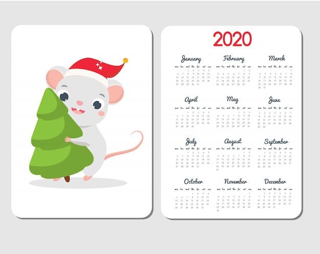 漫画のマウスを使って2020カレンダーテンプレート。面白いラットと中国の新年デザインは、トウヒの木を運ぶ Premiumベクター