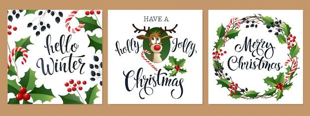 メリークリスマスと新年あけましておめでとうございます2020白と黒の色 Premiumベクター