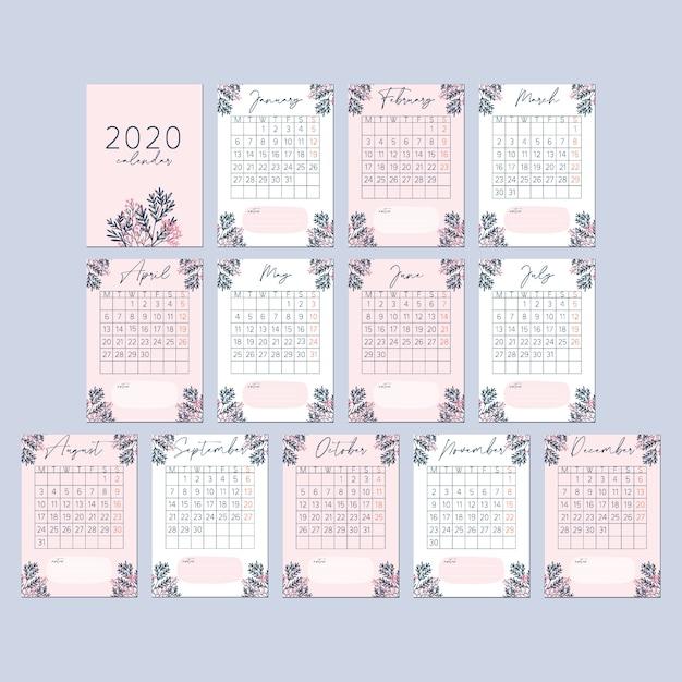 フラワーピーチピンク2020カレンダーカード Premiumベクター