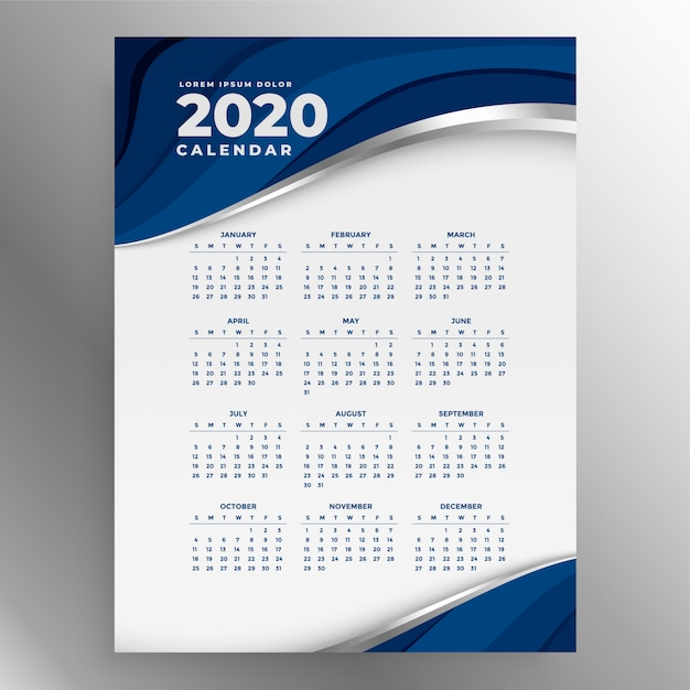 2020年の青い縦型カレンダーテンプレート 無料ベクター