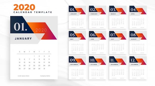 2020年カレンダー ベクター画像 無料ダウンロード
