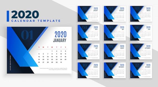 青をテーマにした2020ビジネススタイルカレンダーテンプレート 無料ベクター