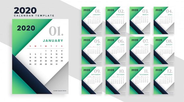 Современный геометрический шаблон макета календаря 2020 Бесплатные векторы