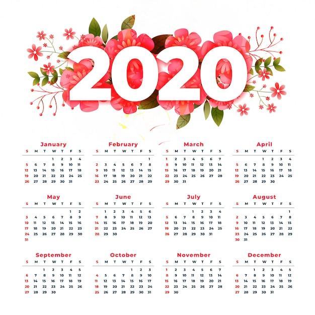 花飾り付き2020年新年カレンダー 無料ベクター