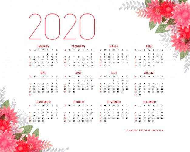 2020 календарь с цветочными элементами Бесплатные векторы