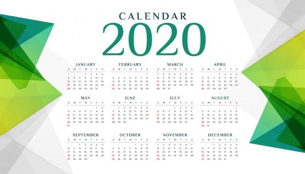 2020年の抽象的な幾何学的な緑のカレンダーテンプレート 無料ベクター