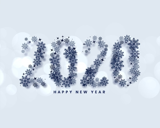 С новым годом 2020 написано в стиле снежинок Бесплатные векторы