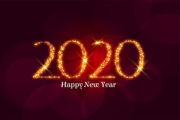 黄金の輝き幸せな新年2020年挨拶 無料ベクター