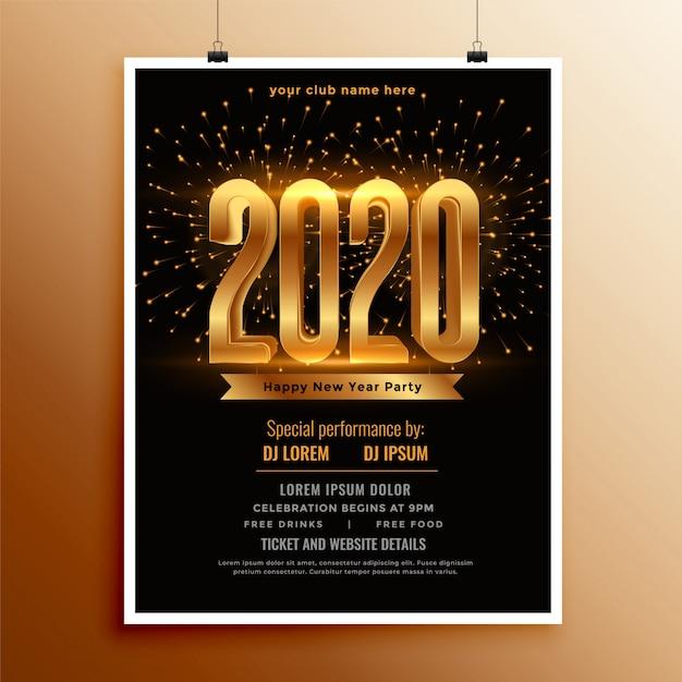 新年の2020年のチラシまたは黒と金の色のポスター 無料ベクター