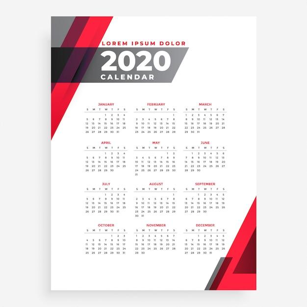 エレガントな2020年幾何学的新年カレンダーデザインテンプレート 無料ベクター