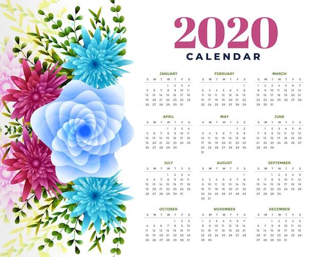 2020新年あけましておめでとうございます花テンプレートレイアウト設計 無料ベクター
