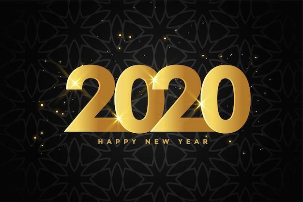 Золотой 2020 новый год премиум черный фон Бесплатные векторы