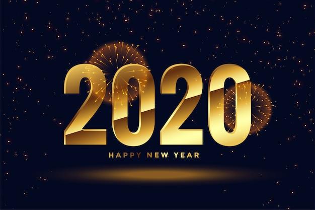 ゴールデン2020年新年のお祝いの挨拶の背景 無料ベクター