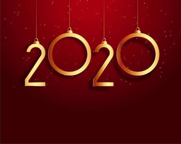 新年2020年赤と金の背景 無料ベクター