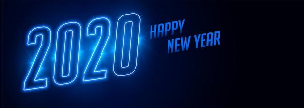 С новым годом 2020 синий неоновый стиль баннера Бесплатные векторы
