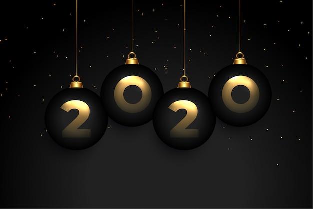 エレガントな2020年黒プレミアム新年グリーティングカードデザイン 無料ベクター