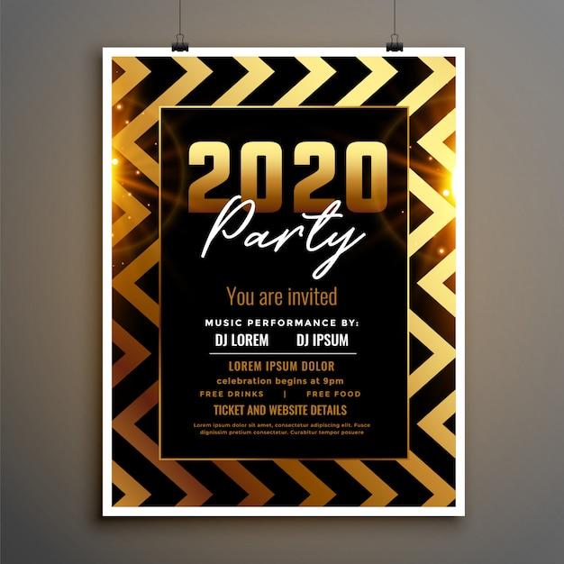 Новый год 2020 золотой и черный флаер шаблон Бесплатные векторы